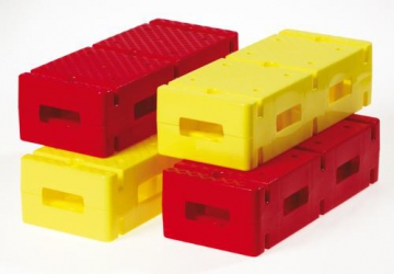 Set with 4 Bricks - 2 x red and 2 x yellow