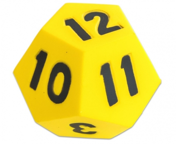 Team dice 1 - 12 10 cm yellow