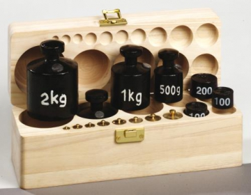 Set of  Weights - 15 pc - wooden box & lid