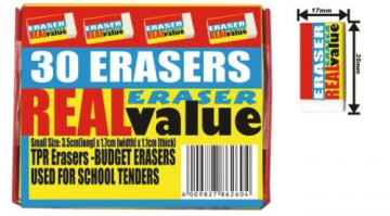 Set of 30 erasers