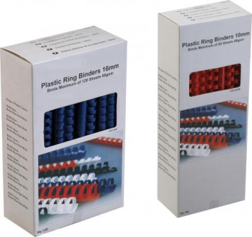 Plastic ring binders 8mm, 25 per box