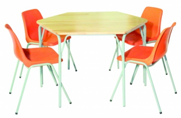 Grade R Trapezium Set - 2 Tables & 4 Chairs -Supawood