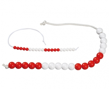 Bead string 20 indiv. red/white