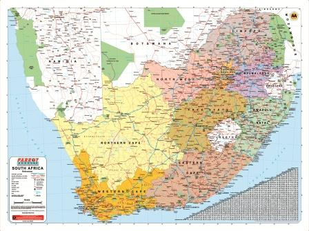 Maps South Africa.Wall Map South Africa Educanda